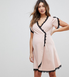 Приталенное платье с запахом для кормящих мам ASOS MATERNITY - Розовый