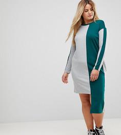Асимметричное платье-футболка колор блок ASOS CURVE - Мульти