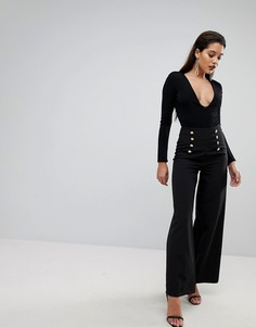 Широкие брюки с золотистыми пуговицами Flounce London - Черный