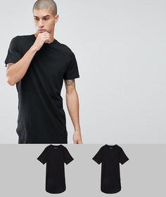 2 удлиненные футболки Jack & Jones Originals - СО СКИДКОЙ - Черный