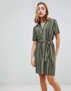 Свободное платье в полоску Selected - Зеленый