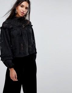 Топ с высоким воротом и вышивкой Missguided - Черный