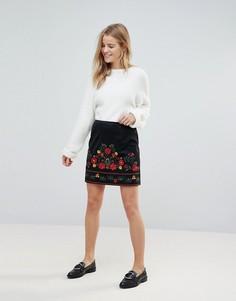 Мини-юбка из искусственной замши с вышивкой New Look - Черный