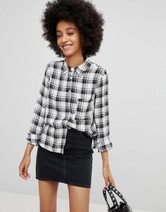 Рубашка в клетку с длинными рукавами New Look - Черный