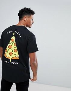 Новогодняя футболка с принтом на спине New Love Club - Черный