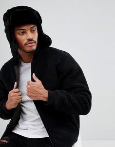 Черная шапка-ушанка из искусственного меха New Look - Черный