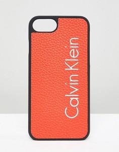 Чехол для Iphone 7 с логотипом Calvin Klein - Оранжевый