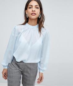 Блузка в полоску с высоким воротом Selected Femme - Белый