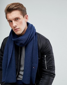 Темно-синий фактурный вязаный шарф Tommy Hilfiger - Темно-синий