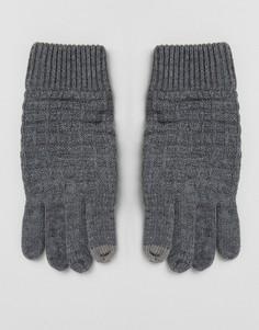Серые перчатки с вафельной текстурой River Island - Серый