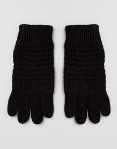 Черные перчатки с вафельной текстурой River Island - Черный