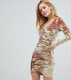 Бархатное платье мини со сборками и запахом Flounce London Petite - Золотой