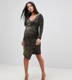 Бархатное платье миди металлик с запахом и асимметричным краем Flounce London Maternity - Черный