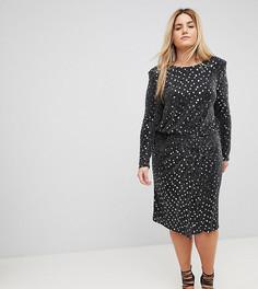 Платье с длинными рукавами, отделкой пайетками и подплечниками Flounce London Plus - Черный