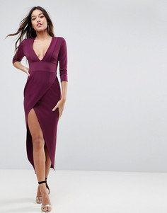 Платье макси с глубоким вырезом ASOS - Красный
