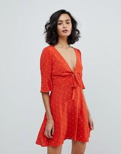 Платье мини в горошек Free People All Yours - Красный