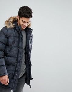 Дутая куртка с камуфляжным принтом Brave Soul - Черный