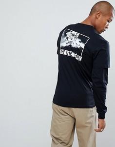 Черная двухслойная футболка с принтом на спине Vans VA36U3BKA - Черный