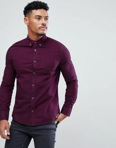 Темно-розовая приталенная рубашка Burton Menswear - Розовый