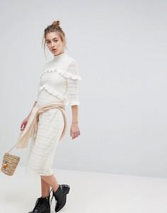 Кружевное платье миди с оборками Moon River - Кремовый