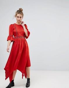 Платье миди с вышивкой Moon River - Красный