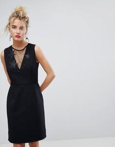 Платье с сетчатой вставкой Essentiel Antwerp - Черный