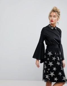 Блузка с расклешенными рукавами и отделкой Essentiel Antwerp - Черный
