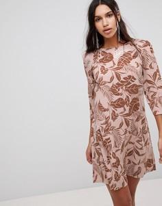 Бархатное платье А-силуэта с цветочным принтом Y.A.S - Розовый