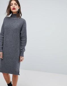 Платье-джемпер в рубчик Selected Femme - Серый