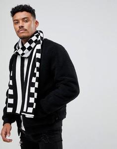 Черный оверсайз-шарф в клетку boohooMAN - Черный