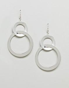 Двойные серьги-кольца River Island - Серебряный