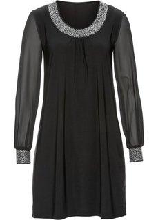 Платье с аппликациями из стразов (черный) Bonprix