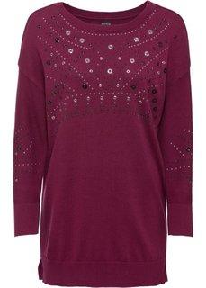 Удлиненный пуловер (ягодный) Bonprix