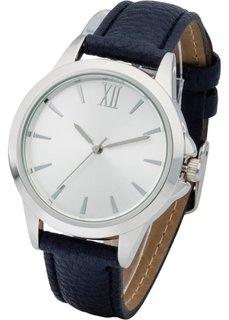 Часы сдержанного дизайна (темно-синий/серебристый) Bonprix
