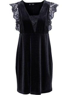 Бархатное платье с кружевом (черный) Bonprix