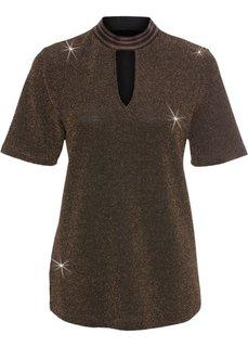 Блестящая футболка с чокером (черный/медный) Bonprix