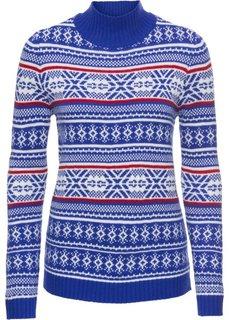Пуловер с высоким воротником и норвежским узором, длинный рукав (синий/красный с узором) Bonprix