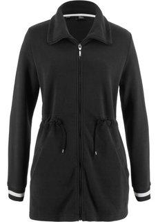Длинная флисовая куртка (черный) Bonprix