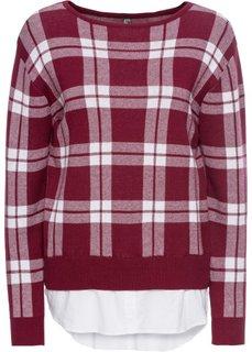Пуловер 2 в 1 (красный/белый в клетку) Bonprix