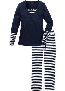 Пижама (белый/темно-синий в полоску) Bonprix