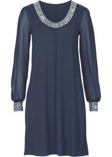 Платье с аппликациями из стразов (темно-синий) Bonprix