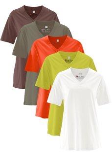Удлиненная футболка с коротким рукавом (5 шт.) (кремовый + фисташковый + темно-оливковый + оранжевый + темно-коричневый) Bonprix