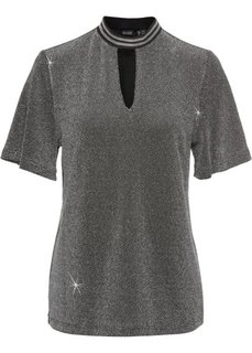 Блестящая футболка с чокером (черный/серебристый) Bonprix