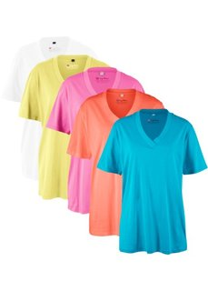 Удлиненная футболка с коротким рукавом (5 шт.) (ярко-розовый + лососевый + бирюзовый + нежно-лимонный + белый) Bonprix
