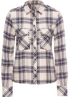 Рубашка с заклепками (кремовый в клетку) Bonprix