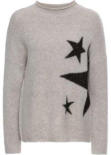 Пуловер вязаный (светло-серый/черный) Bonprix