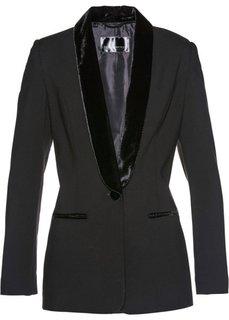 Пиджак с бархатными лацканами (черный) Bonprix