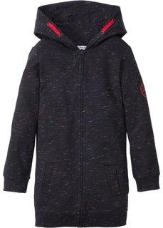 Длинная трикотажная куртка (черный меланж) Bonprix
