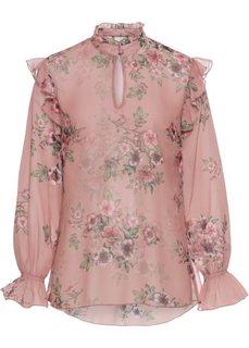 Блузка с воланами (винтажно-розовый с цветочным рисунком) Bonprix