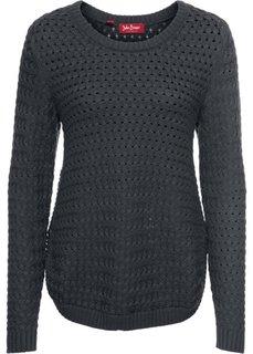 Пуловер с узором косичка и декоративными кнопками, длинный рукав (ночная синь) Bonprix